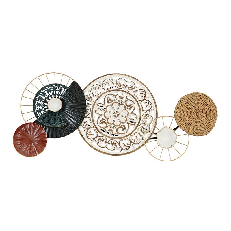 美式鄉村創意個性鐵藝餐廳墻面裝飾臥室手工圓形掛飾墻飾